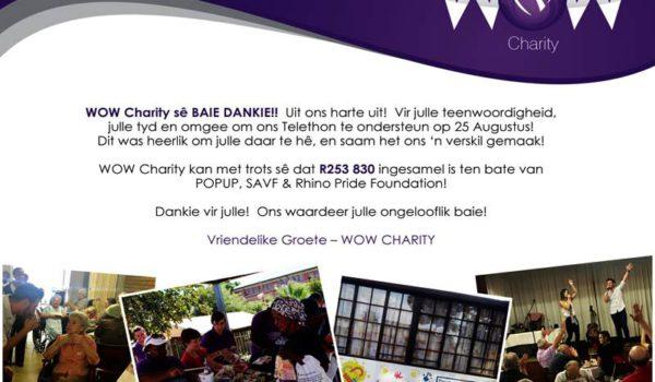 WOW-Charity sê dankie!